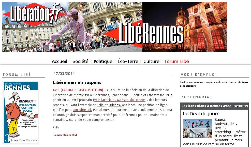 La page d'acceuil actuelle de Libérennes, avec l'annonce de la suspension… et du Forum Libé de Rennes